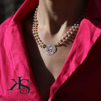 Pearl monogram  pendant (Order Any Initials) - Sterling Silver