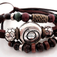 Swirl bead multi strand leather beaded bracelet from Urban Zen Jewelry Boutique