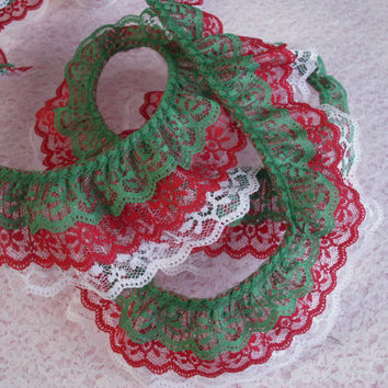 Gathered Triple Ruffled Lace Trim, Green Red and White Lace, Christmas Decor,Apparel, Doll Clothes, Costumes, Journals, Decorative Lace Trim