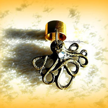 Cute Baby Octopus Ear Cuff Nautical, Steampunk, Beach Wear, Ready to Ship