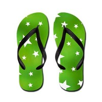 Lime Green Star Pattern Flip Flops> Green Patterned Gifts> Hippy Gift Shop Funky Hippie Gifts
