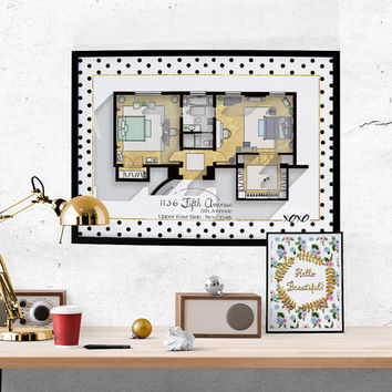 SALE- Gossip Girl Apartment Floor Plan - TV Show Floor Plan- Blair Waldorf and Serena Van der Woodsen's Bedroom Plan/ Glam Poster