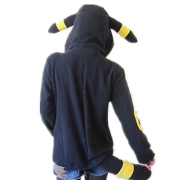 Pokemon Umbreon Women Hoodies With Eear Warm Fleece Hood Hoodie Costume Cosplay Adult Coat Jacket