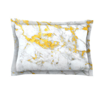 "KESS Original ""Gold Flake"" Marble Metal Pillow Sham"