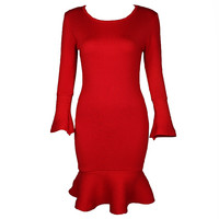 Fashion Long Sleeve Slim Knitting Stretch Fishtail Dress