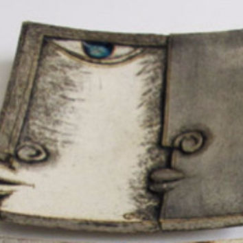 ceramic square decorative plate with face blue and grey