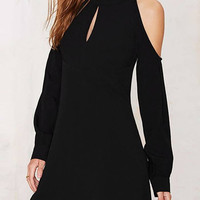 Black Cold Shoulder Keyhole Front Backless Dress