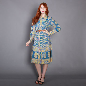 70s INDIA Cotton Boho DRESS / 1970s Blue Floral Indian Cotton Block Print Dress