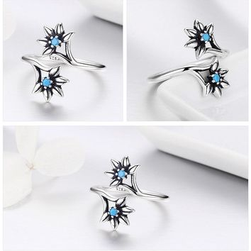 Blue Daisy Sterling Silver Ring