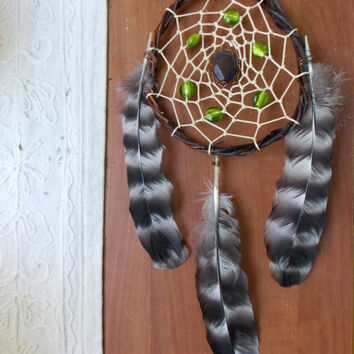 Medium Dream Catcher with Dichroic Glass and Dragon's Vein Agate Gemstone // Boho Hippie Home Apartment Office Decor