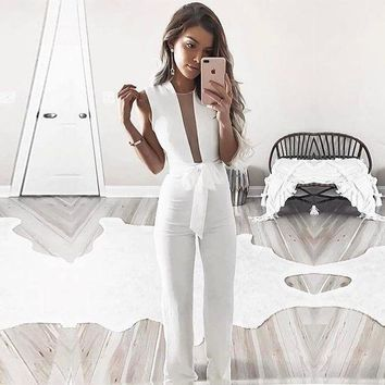 DCKL73 Winter Women's Fashion Sleeveless V-neck Jumpsuit [24784142351]