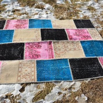 Turkish patchwork rug, oriental rug, turkish rug, vintage rug, antique rugs, 5x7 rug, over dyed rug, boho rug, area rug, 7.2 x 5.2 Ft AG161