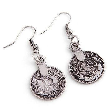 ONETOW Silver Turkish Vintage Coin Earrings floral design Boho Gypsy Beachy Ethnic Tribal Festival Jewelry Turkish Bohemian Earrings (Color: Light grey) = 1928770244