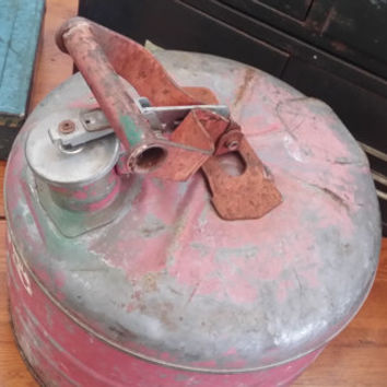 Vintage Red Metal Gas Can With Spring Lid Great Petroliana Garage Man Cave Decor Piece Fathers Day Best Man Groomsman Gift Photo Prop