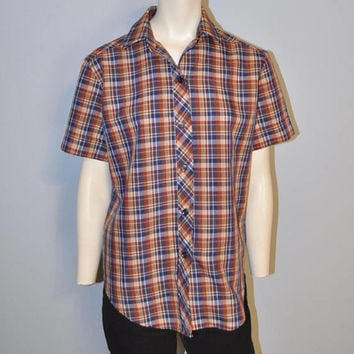 Women's Vintage Short Sleeve Plaid Shirt Retro by Terry Chicago Size 12 Brown and Navy Blue Button Down Blouse Collared Top 1970's