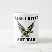 MAKE COFFEE NOT WAR GIANT COFFEE MUG