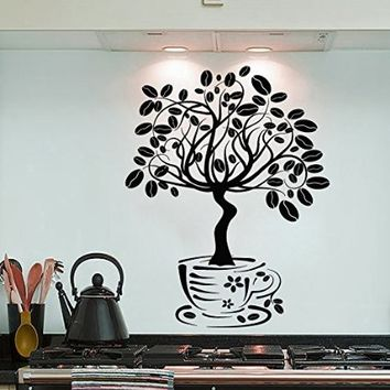 Wall Decals Cup Coffee Beans Tree Flowers Decal Vinyl Sticker Family Bedroom Home Decor Interior Design Cafe Kitchen Ms418