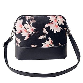2017 New Women Floral Printing Shoulder Bag Leather Purse Satchel Messenger Bag Bolsas Femininas Butterfly Girl Bolso Handbags