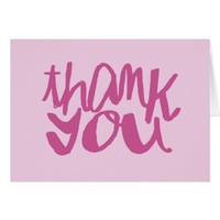 Fuchsia Two toned Typography Thank You Notecard