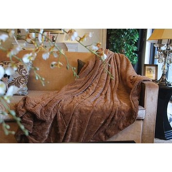 DaDa Bedding Luxury Solid Cinnamon Mocha Brown Faux Fur Sherpa Warm Fleece Throw Blanket (K2)