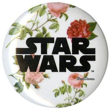 "Licensed cool Star Wars Floral Flowers LOGO Name PIN 1 1/4"" Button Pinback Lanyard Charm NEW"