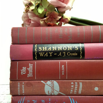 Cranberry Books,Fall Pantone,Books for Wedding,Photo Prop,Book Lot,Maroon Books,Hot Pink,Burgundy Books,Bridal Shower Books,Interior Design