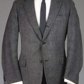 Vtg 60s Hart Schaffner Marx Black/Gray TWEED Wool Trad Ivy Hook Vent Blazer 42 R Monkey Suit