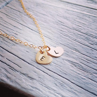 Dainty Two Hearts Initial Necklace - All Gold Filled - Everyday Jewelry - Best Friend, Personalization Gift