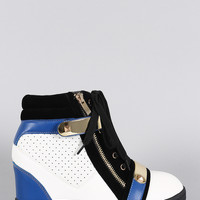 Liliana Colorblock Zipper Perforated High Top Lace Up Wedge Sneaker