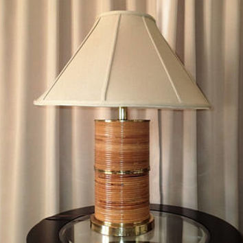 Mid Century Pencil Reed Bamboo Table lamp Pencil Reed Rattan Wrapped Column Brass fittings,