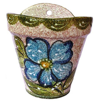 Wall Hanging Flower Pot (Green Design) - Hand Painted in Spain
