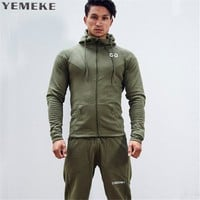 YEMEKE 2017 New Brand Winter Bodybuilding Hoodies Men Casual Gyms Sweatshirts Long Sleeve Cotton Sportwear Fitness Pullover