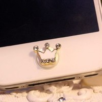 Home Button Sticker - White crown with bling rhinestone for iPhone iPad iPod