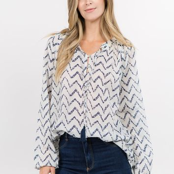 Chevron Print Peasant Top