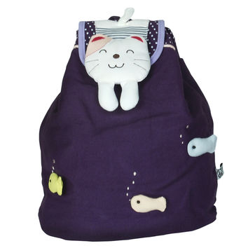 Swimming Fish Fabric Art School Backpack Outdoor Daypack