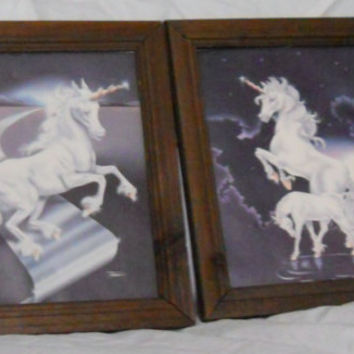 Unicorn Wall Hangings - Matching Vintage 80s Framed Prints Art 8 x 10