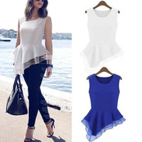 Women Ladies Casual Asymmetric Chiffon Flare Peplum Sleeveless Shirt Top Bodycon Tank Top Vest Blouse = 5737738113