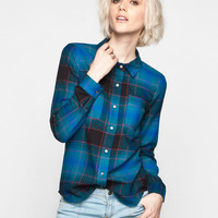 Full Tilt Plaid Womens Flannel Boyfriend Shirt Teal Blue  In Sizes