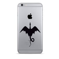 2 Dragons iPhone 6 Decals - Dragon Velvet Fabric iPhone 6 Plus Stickers - Game Of Thrones Galaxy s5 - Mythical Decor - Black Fabric Stickers