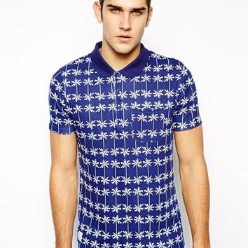 Native Youth Polo Shirt With Palm Beach Print