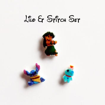 Disney Lilo and Stitch Set of 3 Floating Locket Origami Inspired Charms