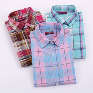 Dioufond Cotton Plaid Shirts Women Blouses Long Sleeve Ladies Office Tops Flannel Shirt  Plus Size Clothing For Women Blusas