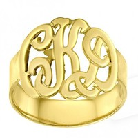 Personalized Initials Ring Sterling Silver w/ 24K Gold Overlay