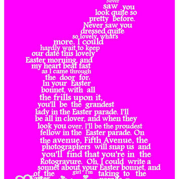 Easter Art, Pink Easter Bunny Word Art, Unique Word Art Typography, PRINTABLE DIGITAL FILE