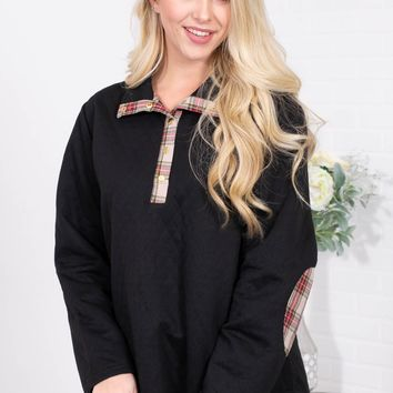 Black Quilted Basic Pullover