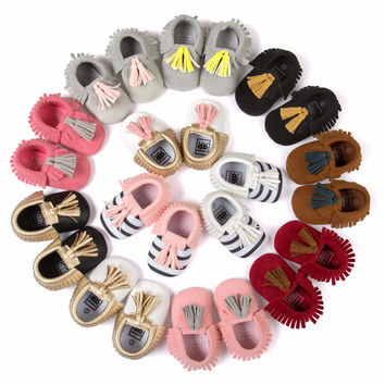 Leather Newborn Infant Toddler Kid First Walkers Bow Baby Moccasins Soft sole girls dress Shoes