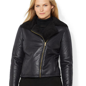 Lauren Ralph Lauren Plus Faux Shearling Moto Jacket