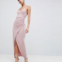 ASOS DESIGN slinky drape maxi dress at asos.com