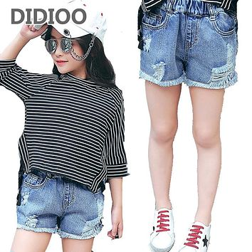 Jeans Shorts for Girls Short Pants Children Summer Denim Vintage Pants for Kids Shorts Trousers 2 8 10 12 14 Years Girls Bottoms