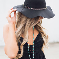 Summer Lights Braided Detail Floppy Hat (Black)